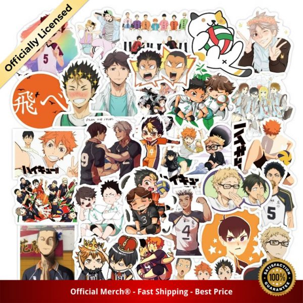 50Pcs Set Haikyuu Stickers Japanese Anime Sticker Volleyball for Decal on Guitar Suitcase Laptop Phone Fridge - Haikyuu Merch Store