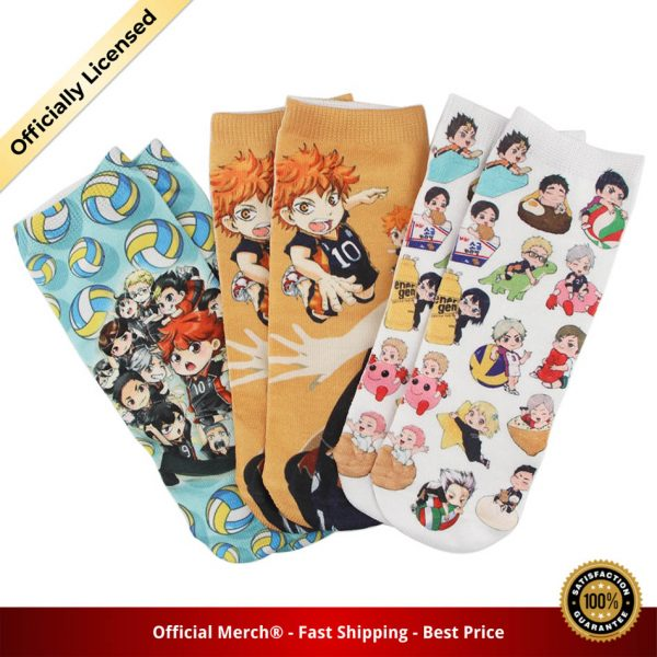 DZ985 Cute Haikyuu Anime Happy Socks Casual Creative Soft Comfortable Funny Novelty Men Women Cotton - Haikyuu Merch Store