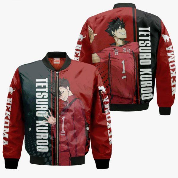 1209 AOP Haikyuu Characters VA Tetsuro Kuroo 4 Bomber jacket front and back - Haikyuu Merch Store