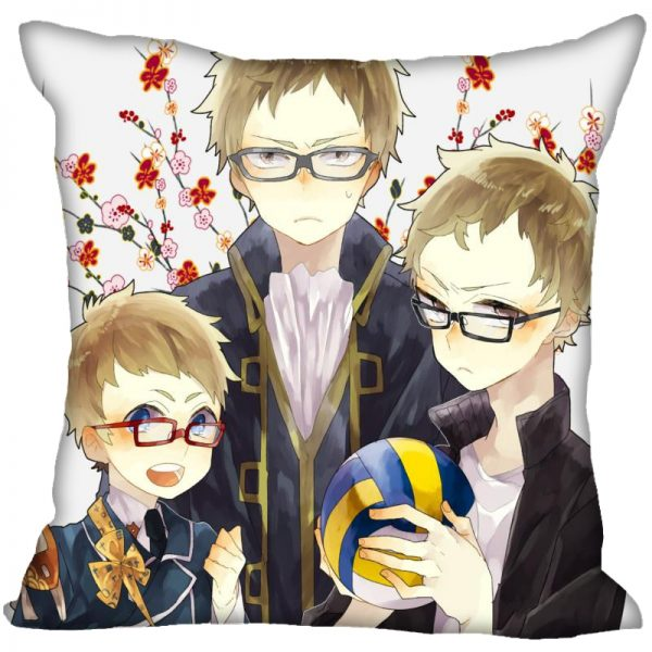 Anime Haikyu Hinata Shoyo Pillowcase Satin Fabric Pillow Cover Square Zipper Pillow Cases Home Office Wedding 1 - Haikyuu Merch Store