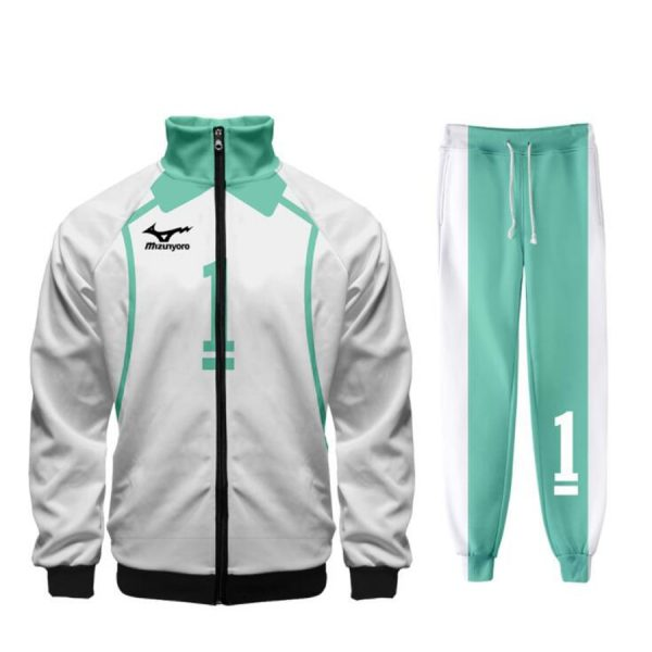 Haikyuu Cosplay Costume Aoba Johsai High School Volleyball Team zip Jacket Coat and Long Pants Training - Haikyuu Merch Store