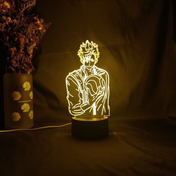 Novelty Upward Lighting Haikyuu Figure TETSURo KUROO 3D Anime LED Table Night Lights Bedside Lamp for - Haikyuu Merch Store