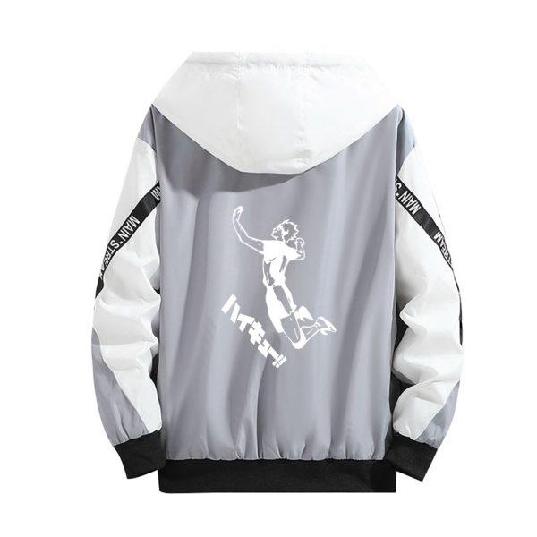 Cosplay Hoodie Thick Jacket Haikyuu Role Karasuno High Yu Nishinoya Luminous Print Splicing Zipper White Gray - Haikyuu Merch Store