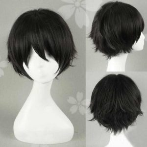 Keiji Akaashi Short Black Cosplay Wig Haikyuu!! To The Top Fukurodani Academy Heat Resistant Cosplay Costume Wig Free Wig Cap