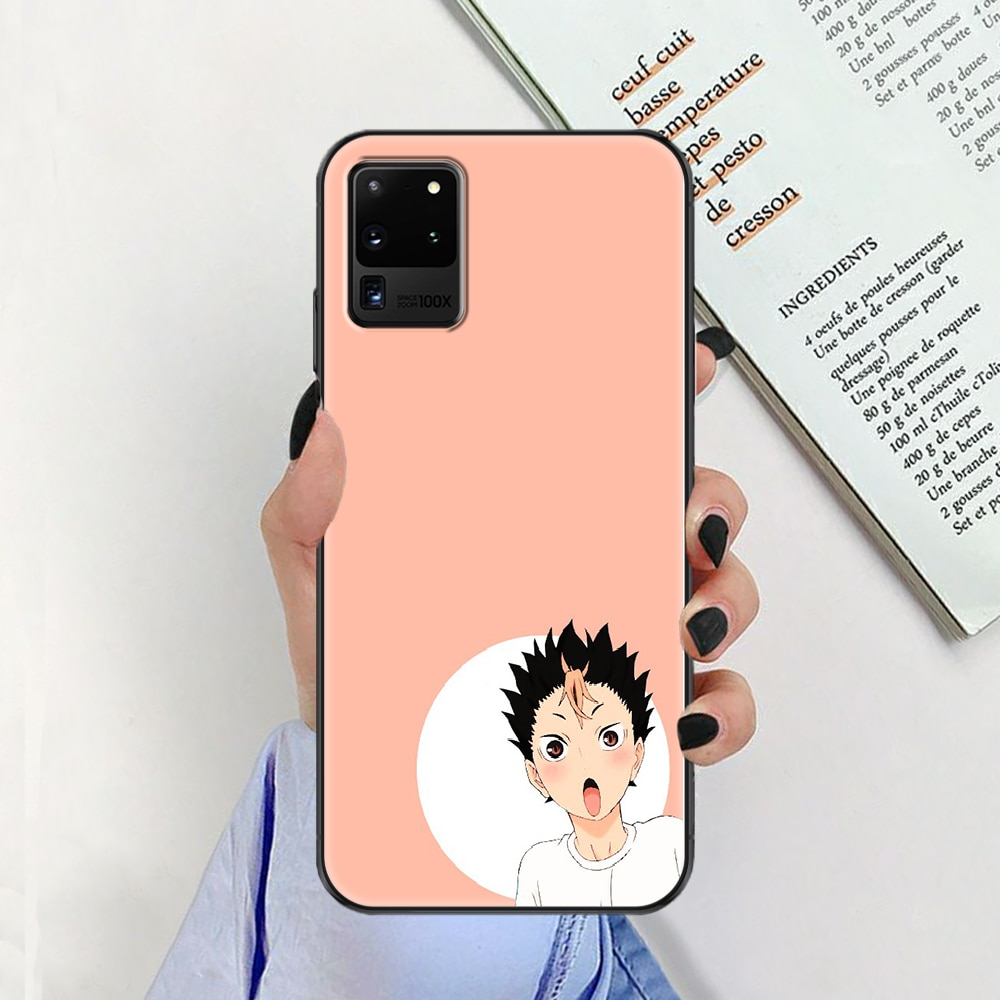 Yu Nishinoya Haikyuu Phone case For Samsung Galaxy Note 4 8 9 10 20 S8 S9 S10 S10E S20 Plus UITRA Ultra black silicone bumper