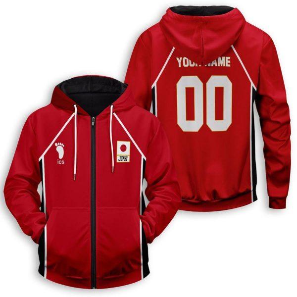 personalized haikyuu national team unisex zipped hoodie - Haikyuu Merch Store