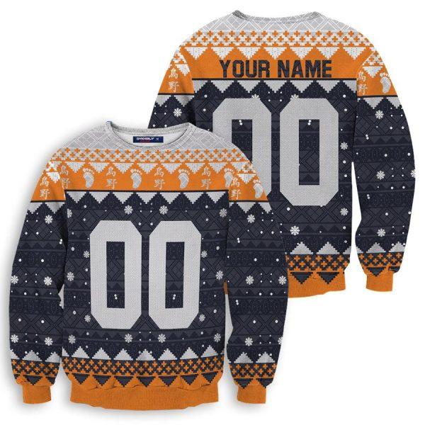 personalized karasuno christmas unisex wool sweater - Haikyuu Merch Store