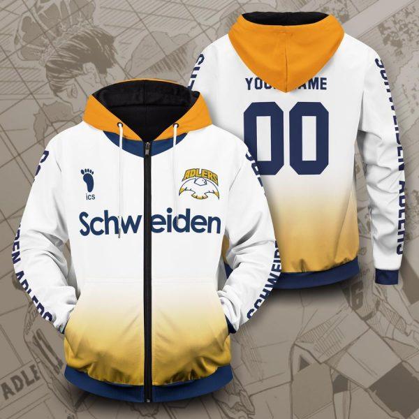 personalized schweiden adlers unisex zipped hoodie - Haikyuu Merch Store