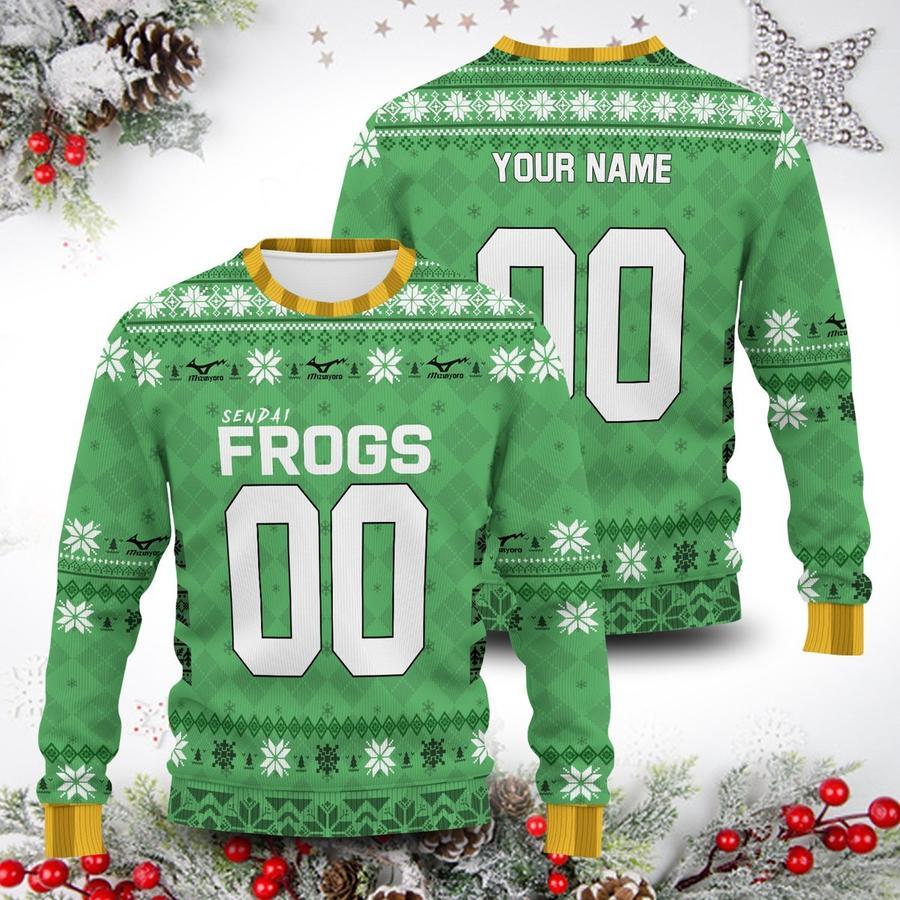 personalized sendai frogs unisex wool sweater - Haikyuu Merch Store