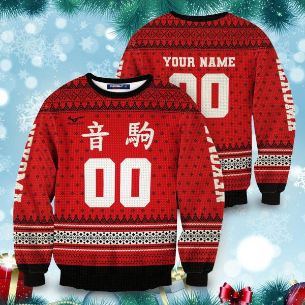 personalized team nekoma christmas unisex wool sweater - Haikyuu Merch Store